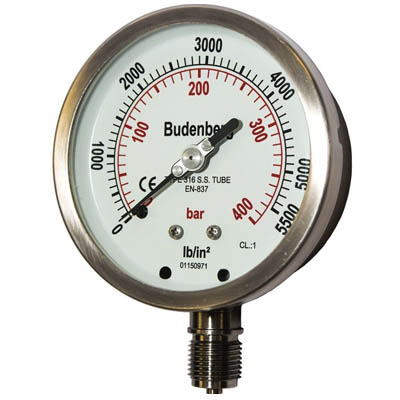 Pressure Gauge 100MM 6Bar 1/2 inch NPT Bottom Connection